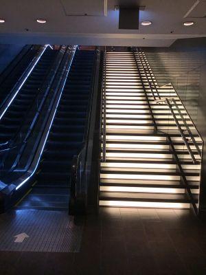 光る階段とエスカレーター