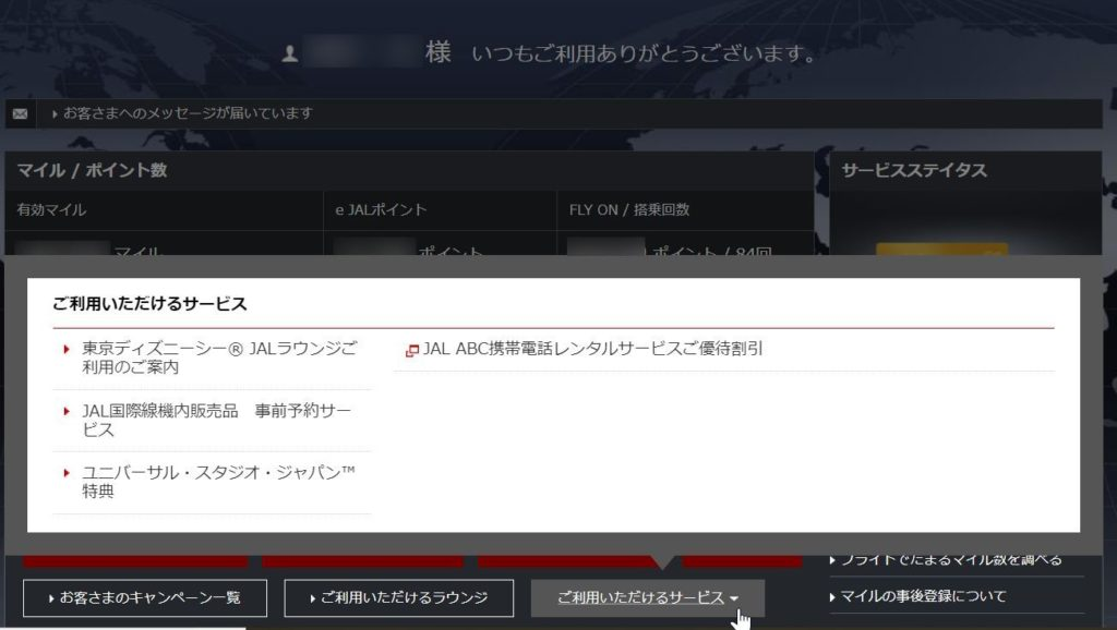 JMB(JALマイレージバンク)画面