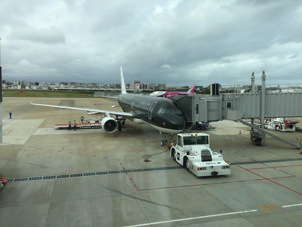駐機中の飛行機