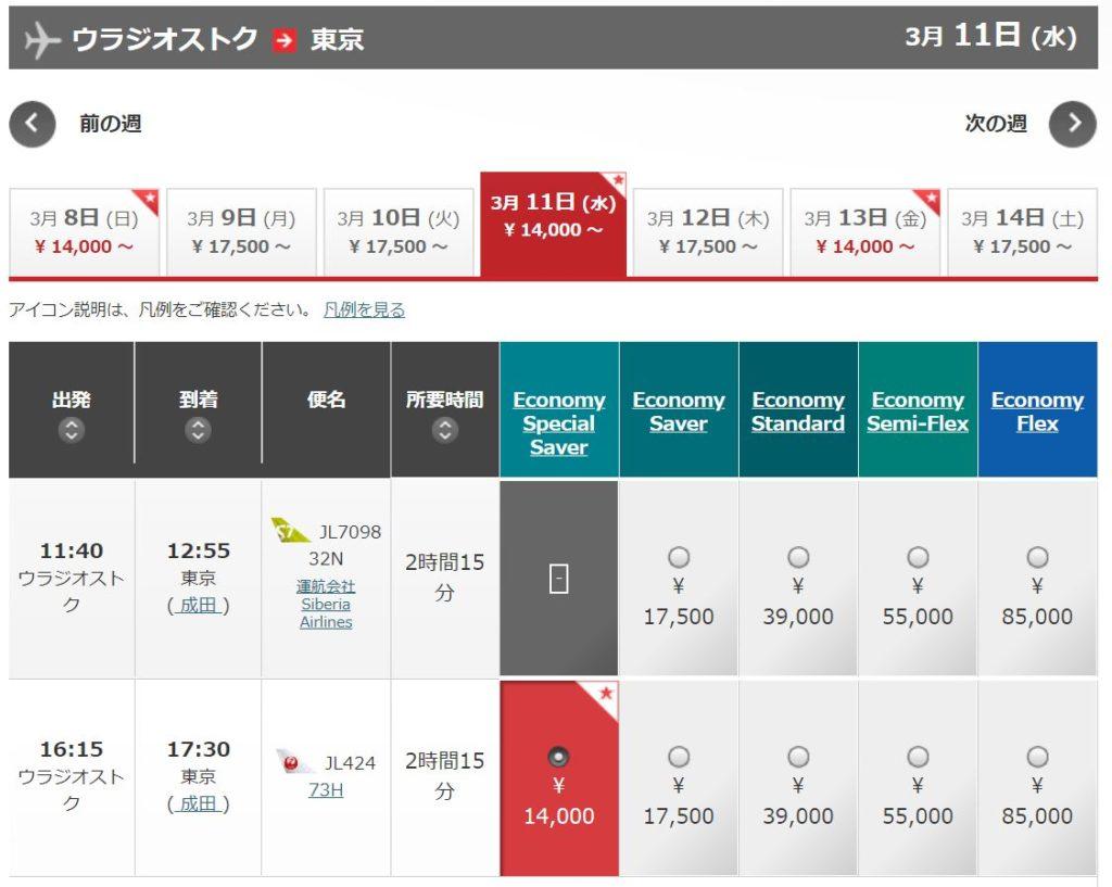 成田-ウラジオストク間航空運賃