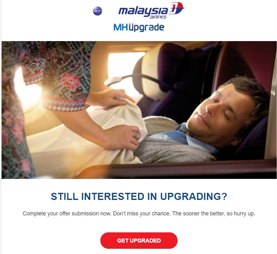 マレーシア航空アップグレードオファートップ画面