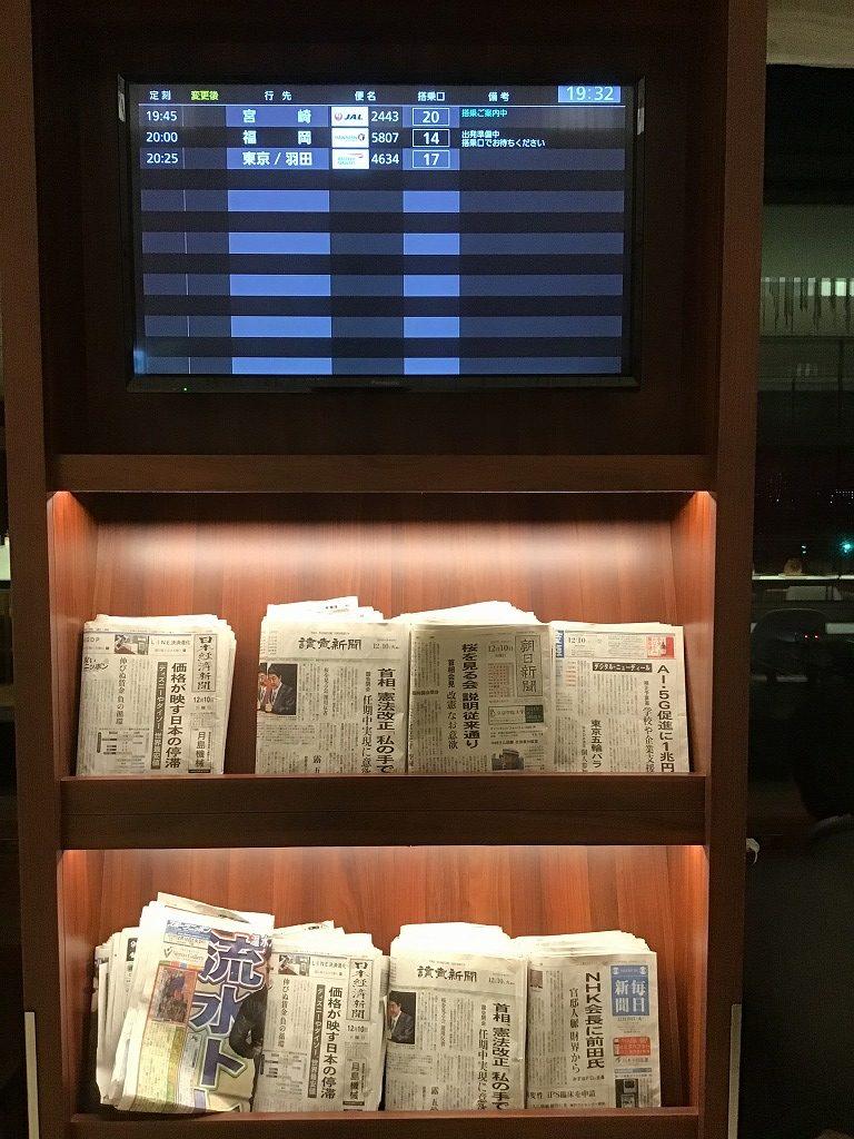 出発案内版と新聞紙