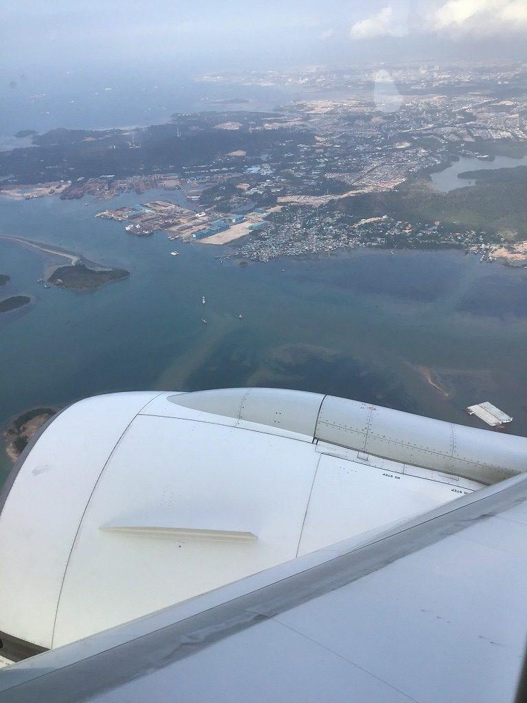 着陸前のシンガポールの景色
